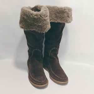 Jack Rogers Women Boots 7.5 Suede Fur Faux Tall